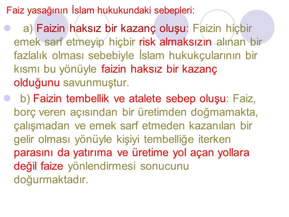 Faiz yasağının İslam hukukundaki sebepleri: