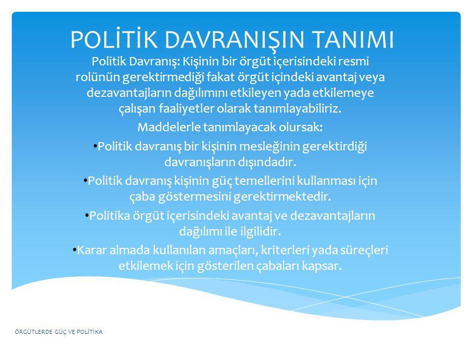 POLİTİK DAVRANIŞIN TANIMI