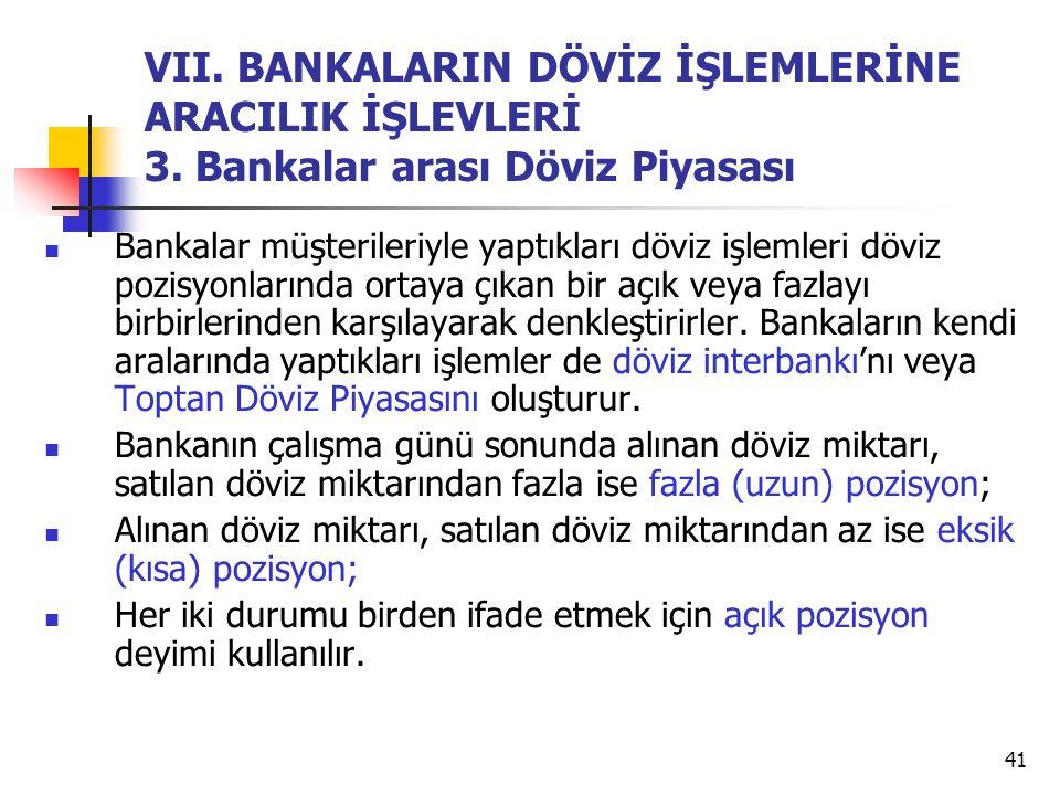 VII. BANKALARIN DÖVİZ İŞLEMLERİNE ARACILIK İŞLEVLERİ 3