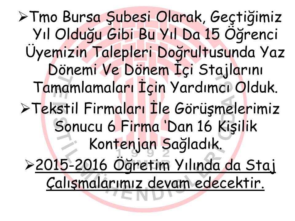 2015-2016 Öğretim Yılında da Staj Çalışmalarımız devam edecektir.