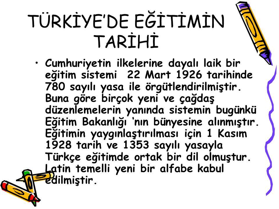TÜRKİYE'DE EĞİTİMİN TARİHİ