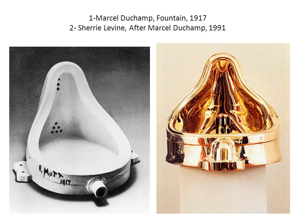 marcel duchamp fountain T he object in tate modern is white and shiny, cast in porcelain, its slender upper part curving outward as it descends to a receiving bowl - into which i urinate it's just a brief walk from here in the fifth-floor men's loo to marcel duchamp's fountain, an object sealed in a plastic display case on a plinth that is nevertheless almost.