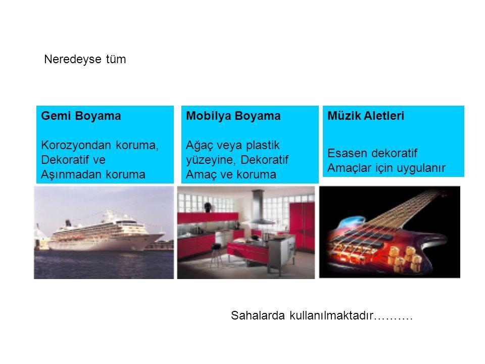 Neredeyse tüm Gemi Boyama. Korozyondan koruma, Dekoratif ve. Aşınmadan koruma. Mobilya Boyama. Ağaç veya plastik.