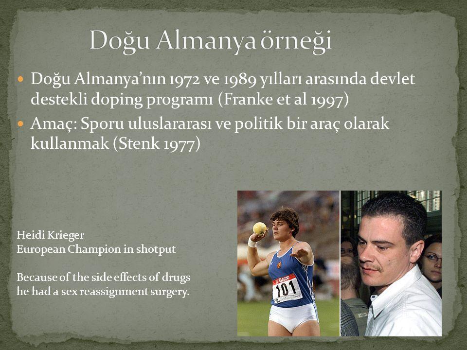 Doğu Almanya örneği Doğu Almanya'nın 1972 ve 1989 yılları arasında devlet destekli doping programı (Franke et al 1997)