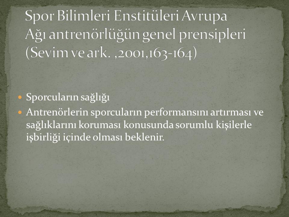 Spor Bilimleri Enstitüleri Avrupa Ağı antrenörlüğün genel prensipleri (Sevim ve ark. ,2001,163-164)