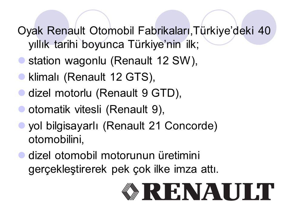 Oyak Renault Otomobil Fabrikaları,Türkiye'deki 40 yıllık tarihi boyunca Türkiye'nin ilk;
