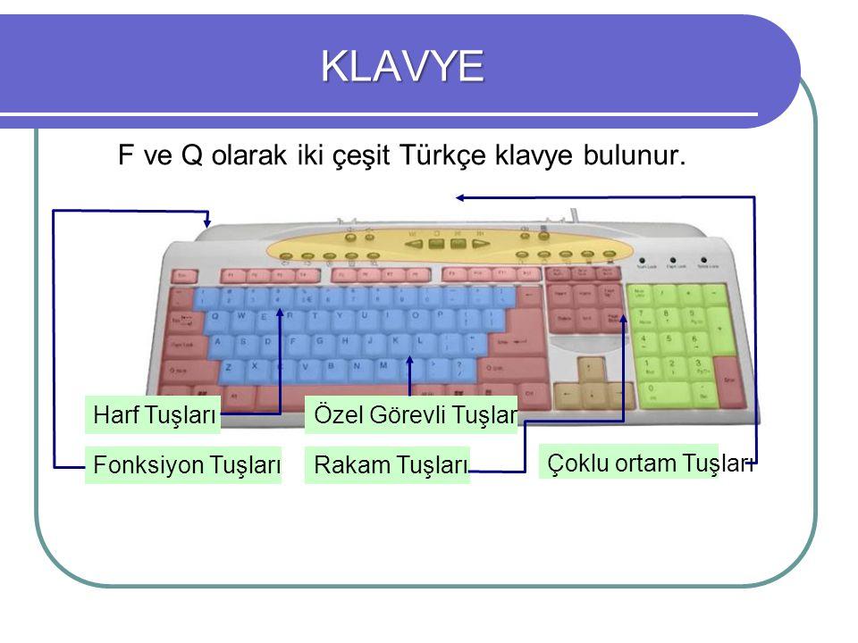 KLAVYE F ve Q olarak iki çeşit Türkçe klavye bulunur. Harf Tuşları