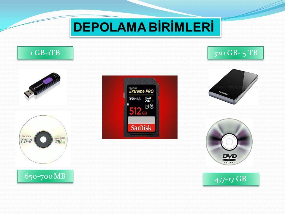 DEPOLAMA BİRİMLERİ 1 GB-1TB 320 GB- 5 TB 650-700 MB 4,7-17 GB