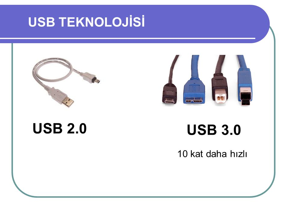 USB TEKNOLOJİSİ USB 2.0 USB 3.0 10 kat daha hızlı