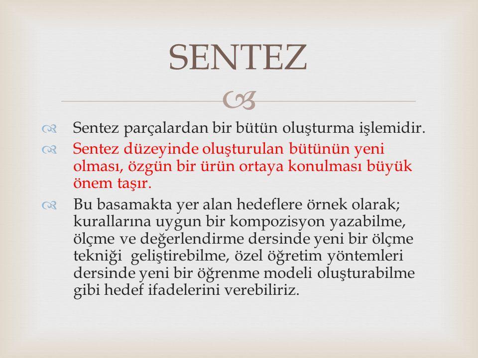SENTEZ Sentez parçalardan bir bütün oluşturma işlemidir.