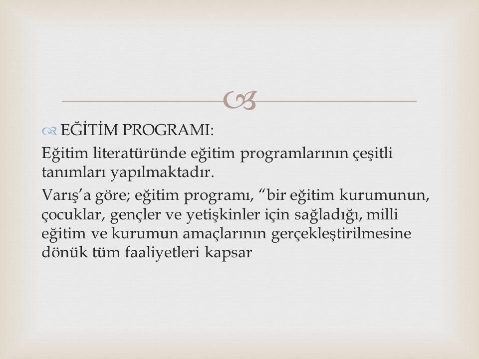 EĞİTİM PROGRAMI: Eğitim literatüründe eğitim programlarının çeşitli tanımları yapılmaktadır.