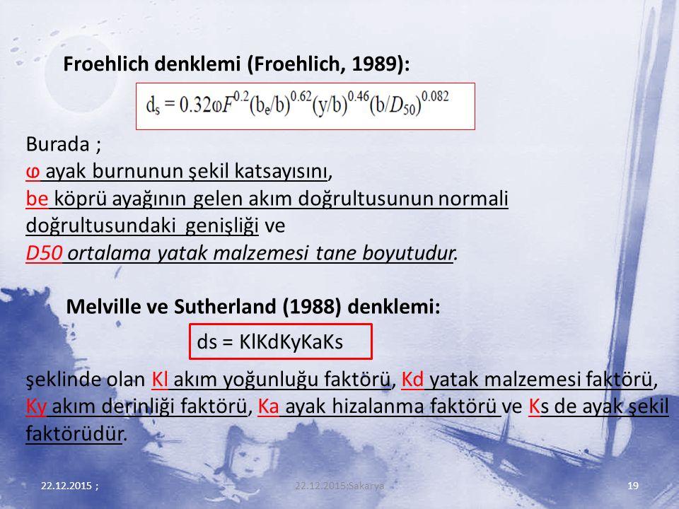 Froehlich denklemi (Froehlich, 1989):