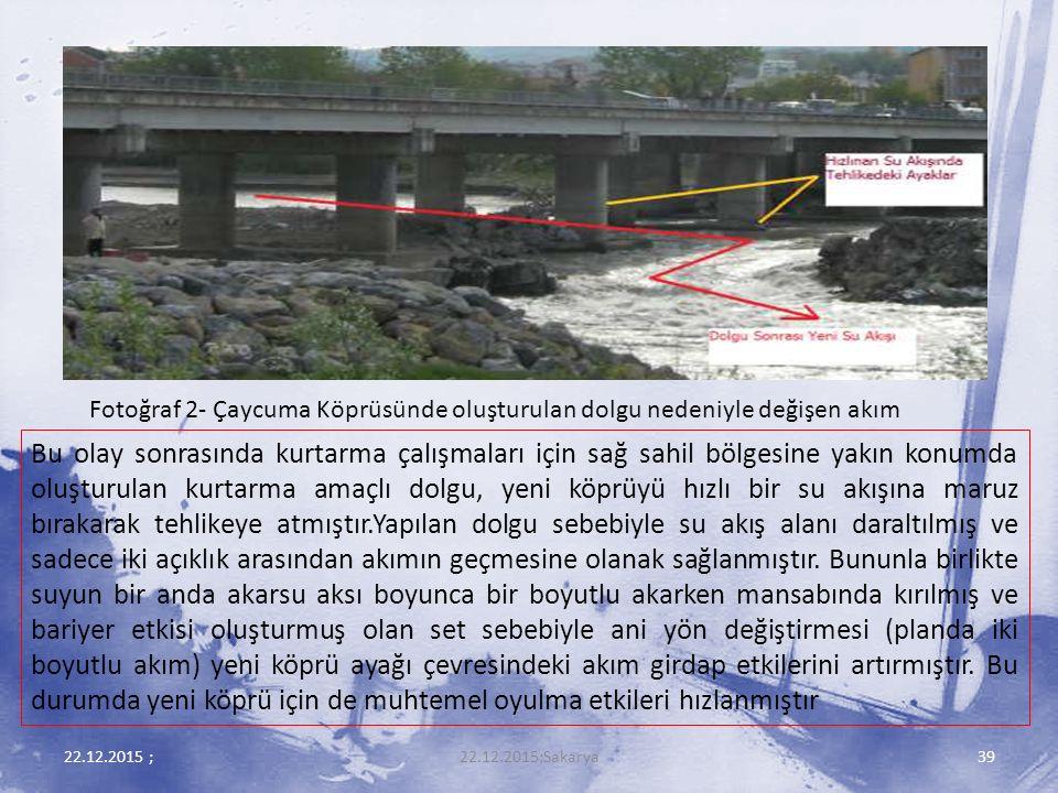 Fotoğraf 2- Çaycuma Köprüsünde oluşturulan dolgu nedeniyle değişen akım