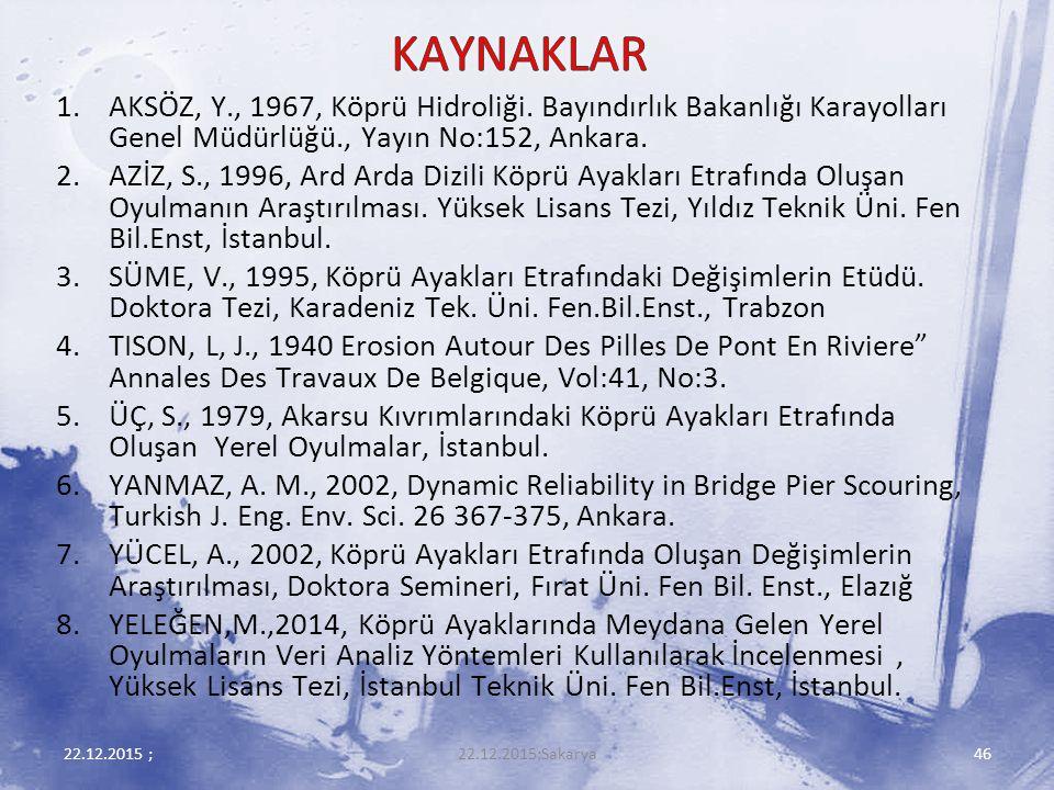 KAYNAKLAR AKSÖZ, Y., 1967, Köprü Hidroliği. Bayındırlık Bakanlığı Karayolları Genel Müdürlüğü., Yayın No:152, Ankara.