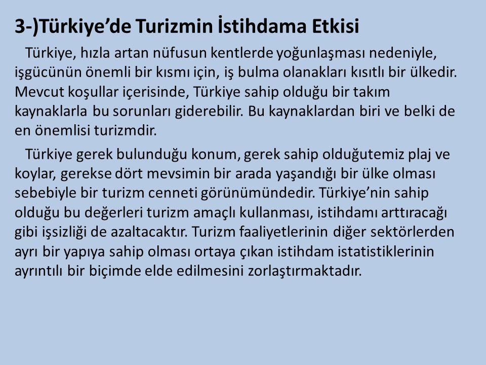 3-)Türkiye'de Turizmin İstihdama Etkisi