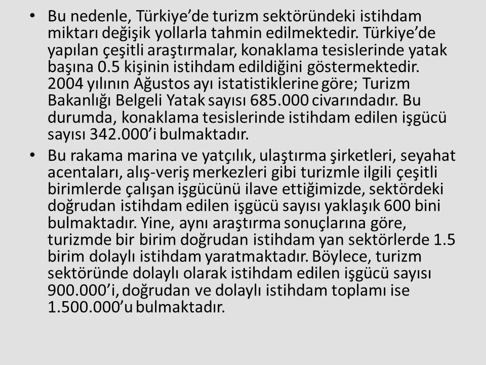Bu nedenle, Türkiye'de turizm sektöründeki istihdam miktarı değişik yollarla tahmin edilmektedir. Türkiye'de yapılan çeşitli araştırmalar, konaklama tesislerinde yatak başına 0.5 kişinin istihdam edildiğini göstermektedir. 2004 yılının Ağustos ayı istatistiklerine göre; Turizm Bakanlığı Belgeli Yatak sayısı 685.000 civarındadır. Bu durumda, konaklama tesislerinde istihdam edilen işgücü sayısı 342.000'i bulmaktadır.