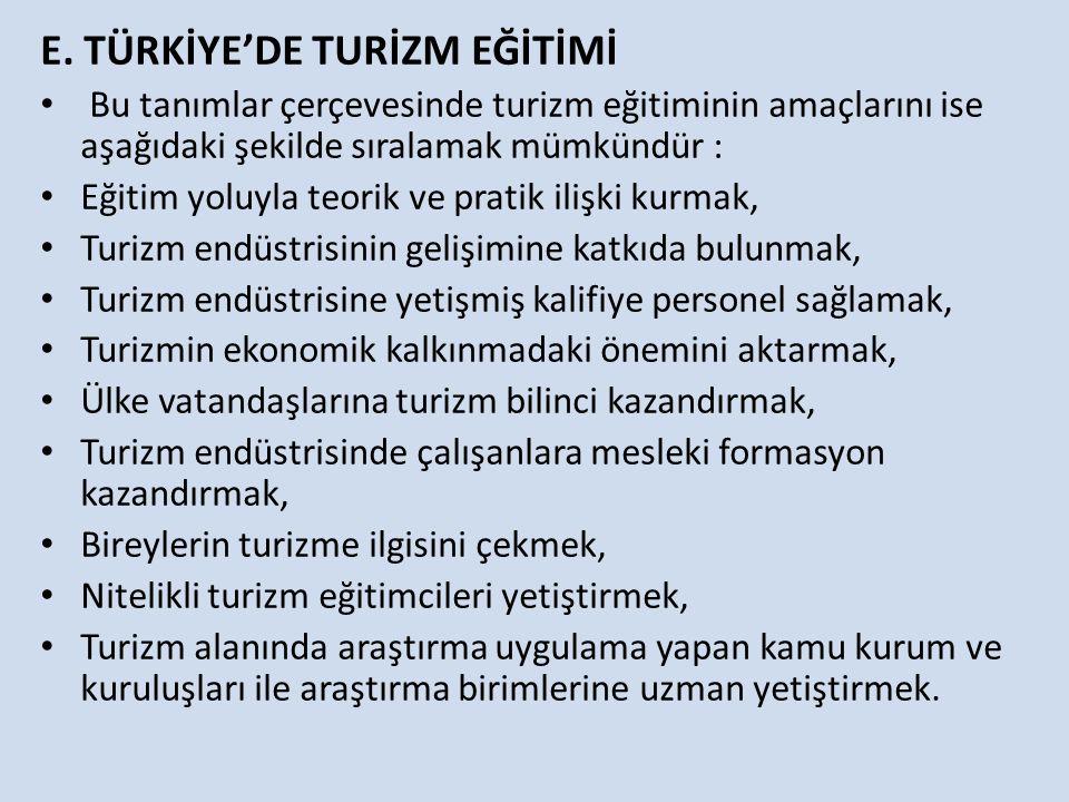 E. TÜRKİYE'DE TURİZM EĞİTİMİ