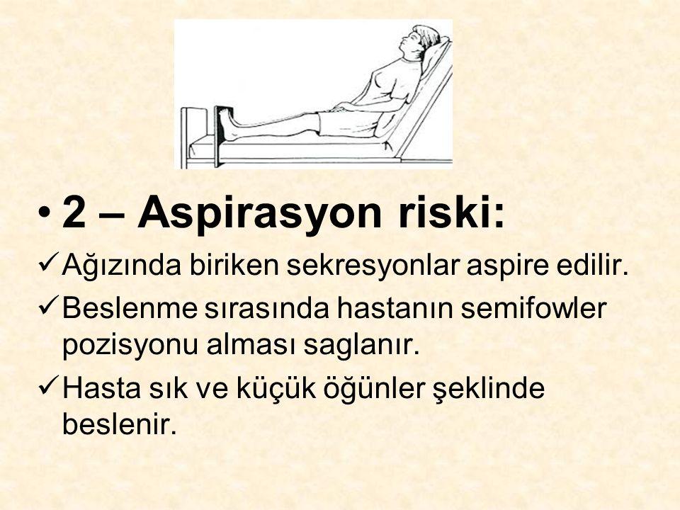 2 – Aspirasyon riski: Ağızında biriken sekresyonlar aspire edilir.
