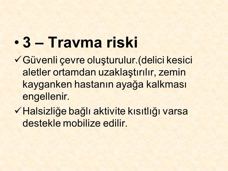 3 – Travma riski Güvenli çevre oluşturulur.(delici kesici aletler ortamdan uzaklaştırılır, zemin kayganken hastanın ayağa kalkması engellenir.