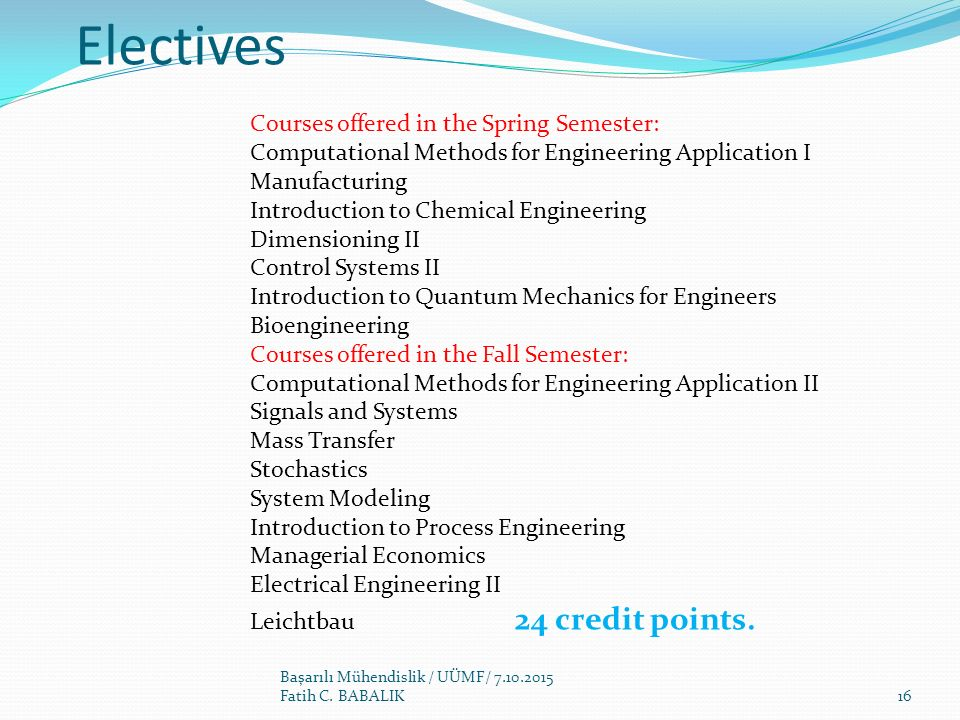 Electives Courses offered in the Spring Semester:
