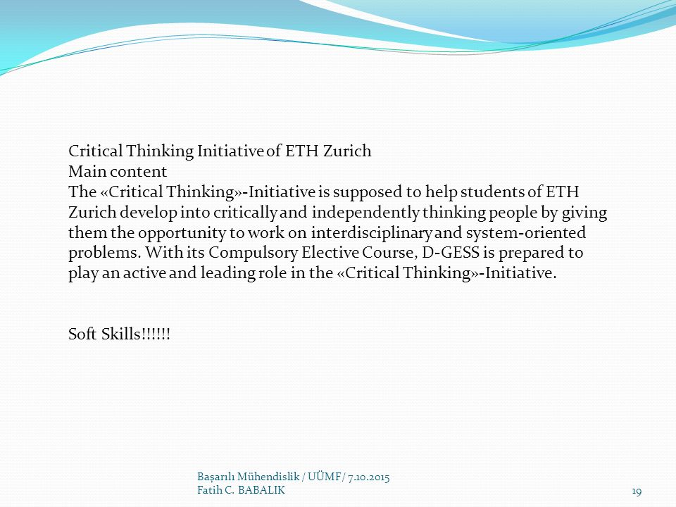Critical Thinking Initiative of ETH Zurich Main content