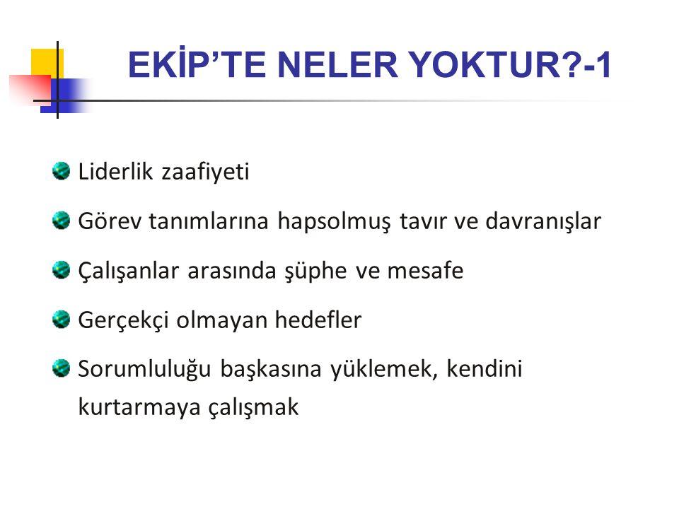 EKİP'TE NELER YOKTUR -1 Liderlik zaafiyeti