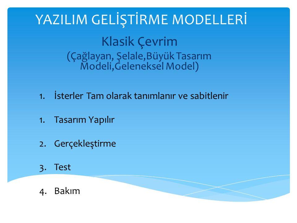 YAZILIM GELİŞTİRME MODELLERİ