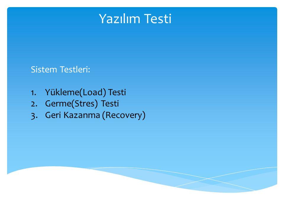 Yazılım Testi Sistem Testleri: Yükleme(Load) Testi Germe(Stres) Testi