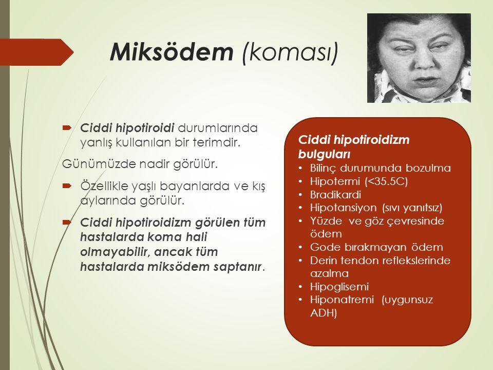 Miksödem (koması) Ciddi hipotiroidi durumlarında yanlış kullanılan bir terimdir. Günümüzde nadir görülür.
