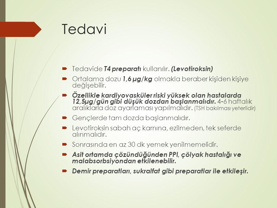 Tedavi Tedavide T4 preparatı kullanılır. (Levotiroksin)