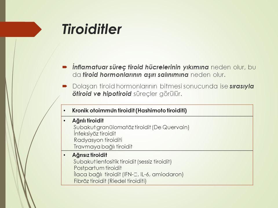 Tiroiditler İnflamatuar süreç tiroid hücrelerinin yıkımına neden olur, bu da tiroid hormonlarının aşırı salınımına neden olur.