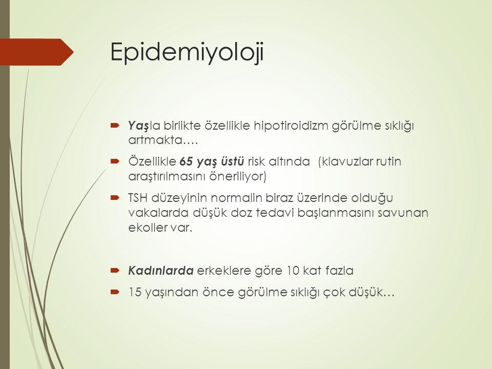 Epidemiyoloji Yaşla birlikte özellikle hipotiroidizm görülme sıklığı artmakta….