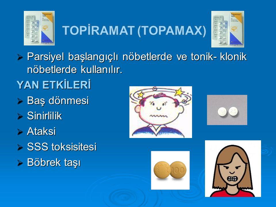 TOPİRAMAT (topamax) Parsiyel başlangıçlı nöbetlerde ve tonik- klonik nöbetlerde kullanılır. YAN ETKİLERİ.