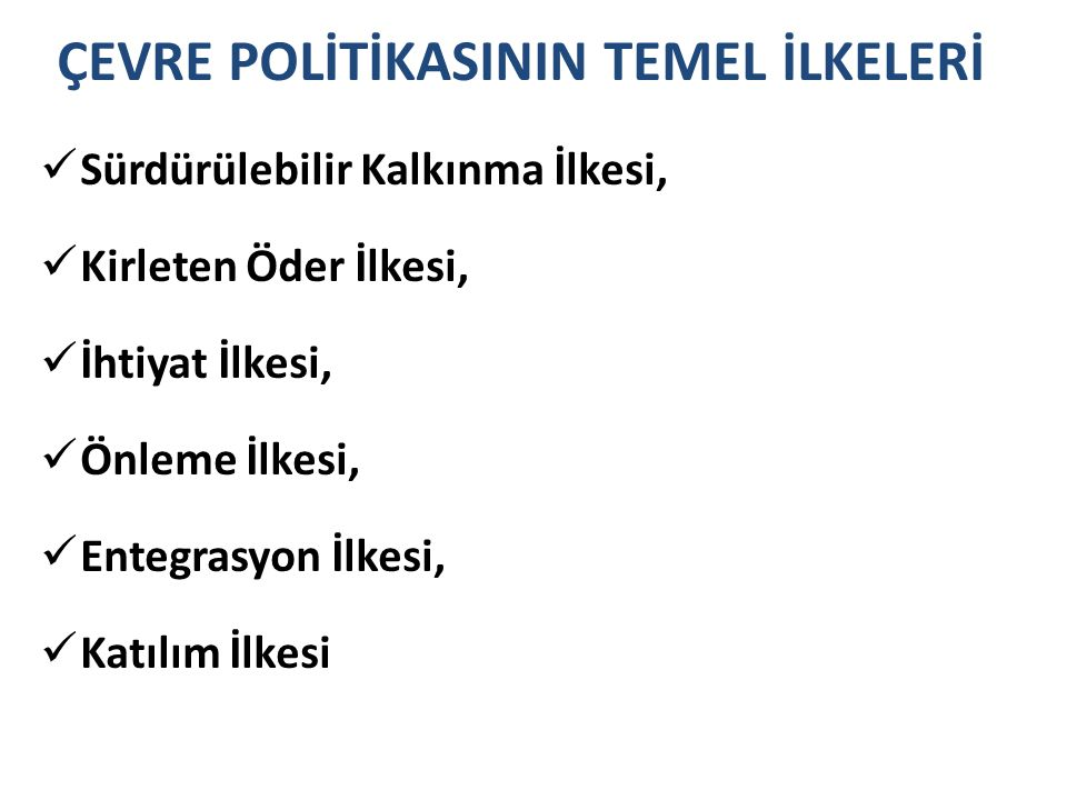 ÇEVRE POLİTİKASININ TEMEL İLKELERİ