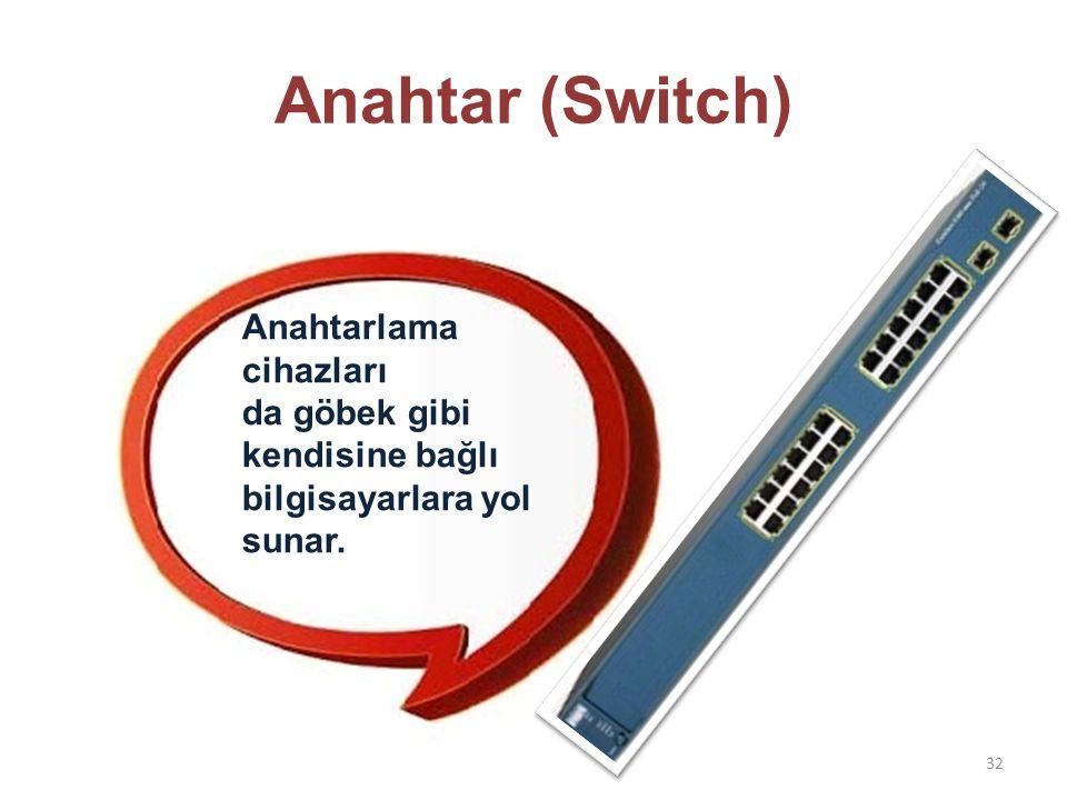 Anahtar (Switch) Anahtarlama cihazları da göbek gibi kendisine bağlı