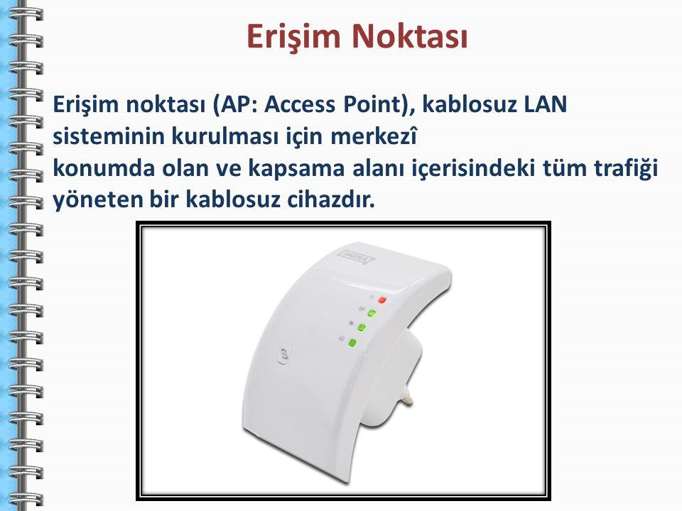 Erişim Noktası Erişim noktası (AP: Access Point), kablosuz LAN sisteminin kurulması için merkezî.