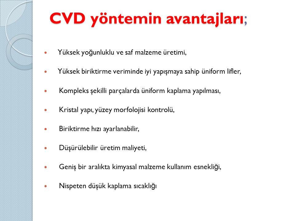 CVD yöntemin avantajları;