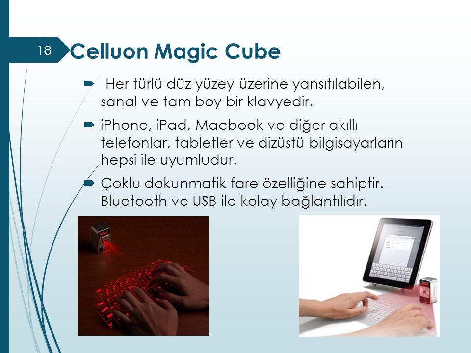 Celluon Magic Cube Her türlü düz yüzey üzerine yansıtılabilen, sanal ve tam boy bir klavyedir.