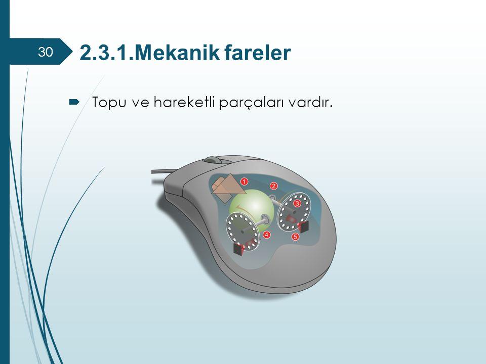 2.3.1.Mekanik fareler Topu ve hareketli parçaları vardır.