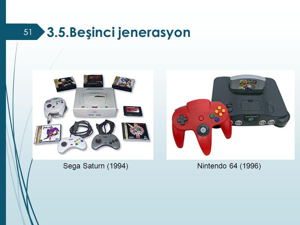 3.5.Beşinci jenerasyon Sega Saturn (1994) Nintendo 64 (1996)