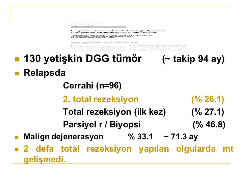 130 yetişkin DGG tümör (~ takip 94 ay)