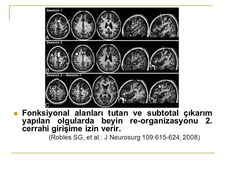 Fonksiyonal alanları tutan ve subtotal çıkarım yapılan olgularda beyin re-organizasyonu 2. cerrahi girişime izin verir.
