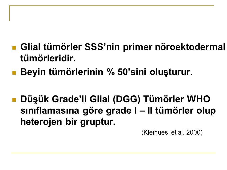 Glial tümörler SSS'nin primer nöroektodermal tümörleridir.