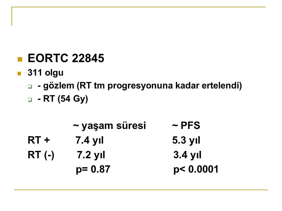 EORTC 22845 ~ yaşam süresi ~ PFS RT + 7.4 yıl 5.3 yıl