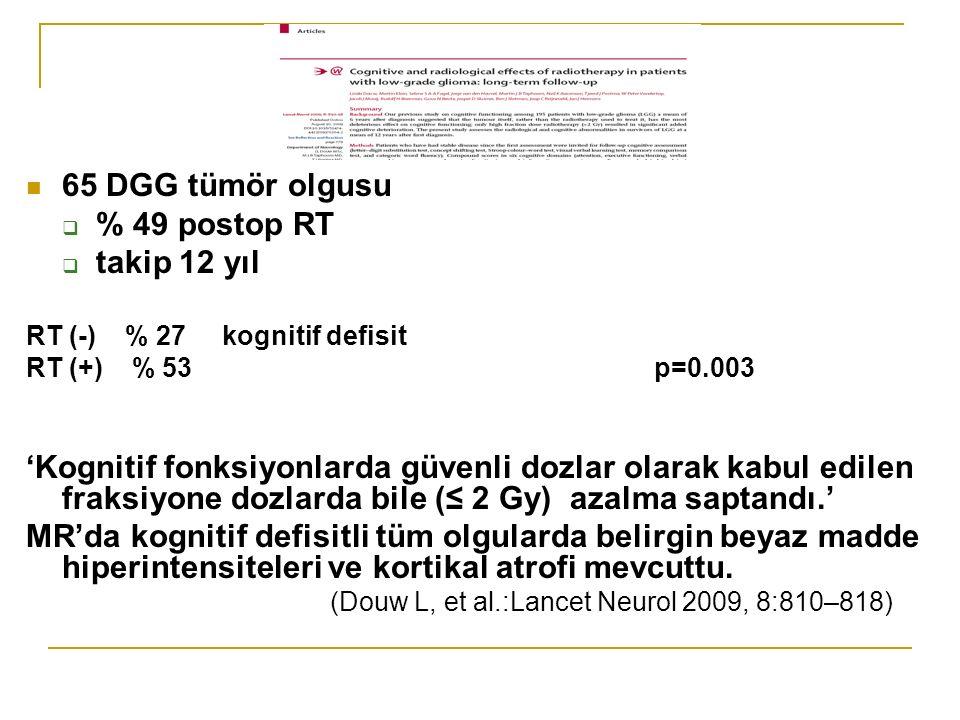 65 DGG tümör olgusu % 49 postop RT takip 12 yıl