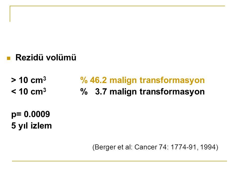 > 10 cm3 % 46.2 malign transformasyon