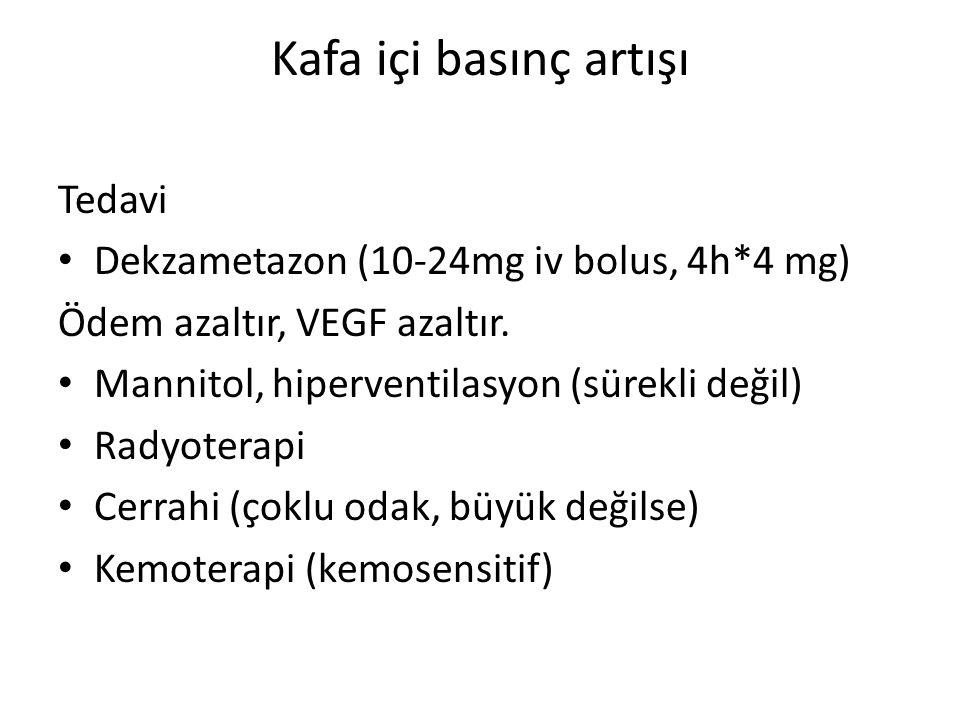 Kafa içi basınç artışı Tedavi Dekzametazon (10-24mg iv bolus, 4h*4 mg)