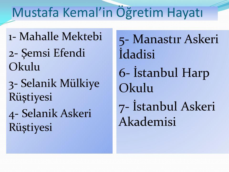Mustafa Kemal'in Öğretim Hayatı