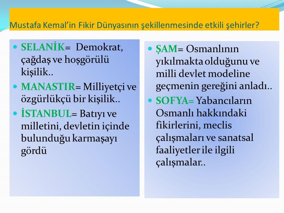 Mustafa Kemal'in Fikir Dünyasının şekillenmesinde etkili şehirler