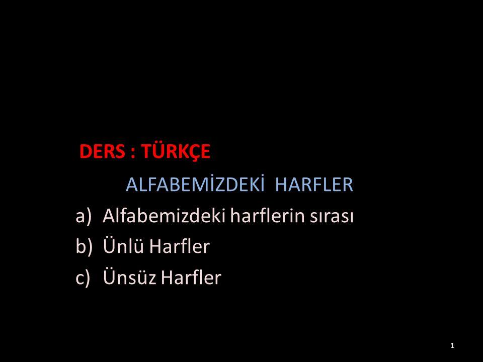 ALFABEMİZDEKİ HARFLER